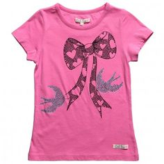 ac35507d036a8b Doll Face   Dirt Boy Girls Pink Short Sleeved Cotton T-Shirt with Diamante  Bow and Birds at Childrensalon.com