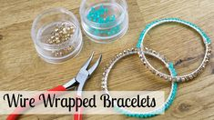 Bead, Wire and Fashion Jewelry: Make Wire Wrapped Bracelets. Learn how to make beautiful wire wrapped bracelets with Founder of the London Jewellery School, Jessica Rose. A great tutorial for making jewelry from home. To learn to make more amazing Wire Jewelry, Jewelry Crafts, Beaded Jewelry, Beaded Necklace, Beaded Bracelets, Wire Wrapped Bracelet, Memory Wire Bracelets, London Jewellery School, Wrap Bracelet Tutorial