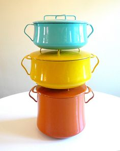 Dansk vintage, mid-century enameled steel cookware, love it.