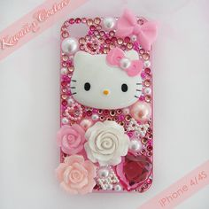 Hello Kitty Pink Roses & Bows iPhone 4/4S Case | SALE $45.00    SHOP: www.etsy.com/shop/kawaiixcoutureHandmade decoden phone cases, jewelry, & accessories ♡
