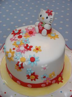 A Lemon cake filled with lemon curd and lemon buttercream with a fondant Hello Kitty for my daughters' 2nd birthday.