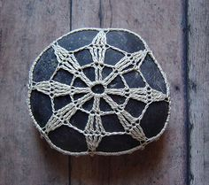 Crocheted Lace Stone with Tiny Stitches Handmade Beige von Monicaj, $42,00