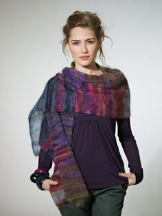 This beautifully simple scarf is knitted in two colours of Kidsilk Haze Stripe allowing two different colours to work together to give a unique finished garment.