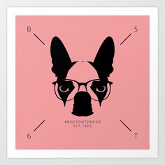 Hipster Boston Terrier Art Print by Lulo The Boston Terrier - $19.99