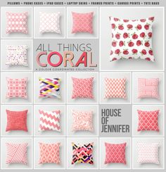 A Coral Collection by House of Jennifer now available on society6.com all pillows $20.00 #art #design #houseofjennifer #society6 #pattern #pillows #coral #chevron #geometric #stripes #roses #moroccan #lattice #harlequin