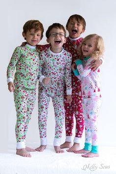 Group pajama hug! DIY Sew knit kids Christmas pajamas - with FREE pattern! - Melly Sews