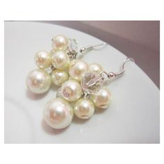 Pearl Bridesmaid Jewelry, Ivory Pearl Earrings, Cluster Earrings,... ($9.50) ❤ liked on Polyvore featuring jewelry