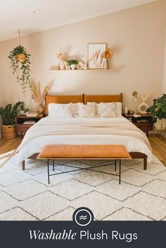 Add a touch of softness to any space with Ruggable's Washable Plush rugs! Room Design Bedroom, Room Ideas Bedroom, Dream Bedroom, Home Decor Bedroom, Beige Walls Bedroom, Master Bedroom, Aesthetic Bedroom, My New Room, Room Inspiration