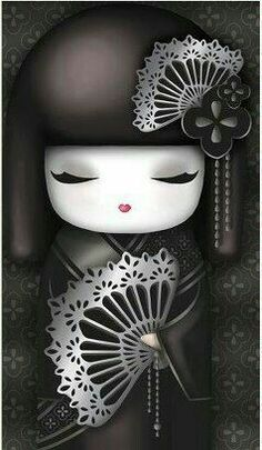 geisha doll black and silver Holly Hobbie, Kokeshi Tattoo, Geisha Art, China Dolls, Kokeshi Dolls, Japan Design, Asian Art, Japanese Art, Cute Wallpapers