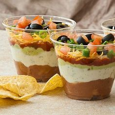 Seven layer dip...love the idea of putting them in individual cups