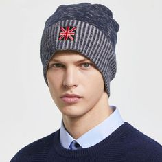 British flag embroidered beanie hat mens knit wool hats for winter 82a01d1be257
