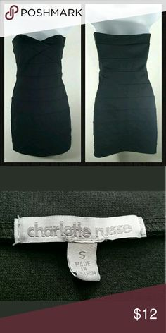Strapless Body Con Little Black Dress Adorable Form Fitting Strapless Solid Black Dress by Charlotte Russe  Junior's Size Small - Side Zip with Hook Closure  Excellent Used Condition - No Flaws Found Upon Inspection and Photographing - See Photos  Smoke free, Pet friendly Charlotte Russe Dresses Strapless
