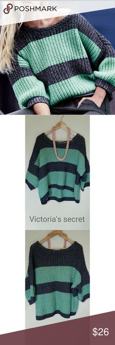 Victoria's Secret blue and green chunky sweater This is a Victoria's Secret sweater size small. The sweater is  practically brand and in excellent condition. The sweater is a chunky boatneck sweater that hits at the waist. The sweater is 19.5 inches long from shoulder to the bottom. This beauty has no defects nor flaws. If you have any additional questions please do not hesitate to ask. Thank you for visiting Victoria's Secret Sweaters Shrugs & Ponchos