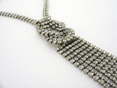 Clear Rhinestone Necklace, Art Deco Rhinestone Necklace, Wedding Accesory, Vintage Bridal Jewelry, Bridal Jewelry, Flapper Necklace on Etsy, $36.00