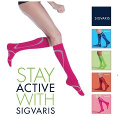 Get ready to hit the gym, road or field sporting the newest shades of the SIGVARIS PERFORMANCE SOCKS. Since the socks were first introduced, they have rapidly been gaining attention among active adults, physicians, fitness experts and athletic trainers. Their significant popularity has inspired four new, fun shades including: blue, lime, pink and red. Visit www.miltonorthoticwellness.com Athletic Trainer, Get Ready, Trainers, Lime, Socks, Shades, Inspired, Fitness, Fun