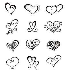 Hearts tattoo set vector