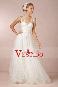 2014 vestido de novia con cuello en V de encaje blusa Pick Up Tul Falda Con Banda tribunal cola USD 209.99 VEPHJMRGMG - Vestido2015.com