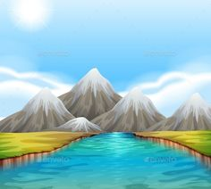 Buy Scenic Landscape with River and Sky by BlueRingMedia on GraphicRiver. Scenic landscape with river and sky Art Deco Illustration, Landscape Illustration, Kids Art Galleries, Animal Art Projects, Indian Art Paintings, Acrylic Paintings, Landscape Background, Digital Painting Tutorials, Cactus Art