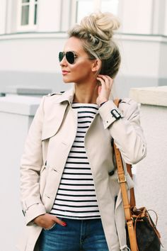 Outfit Casual Style Zara Trenchcoat Rayban Aviator Distressed Jeans Striped Shirt Joe Fresh