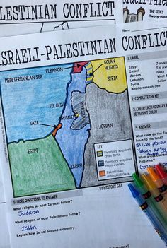 Israeli-Palestinian Conflict Map Activity - Use this map and materials to help your 6th, 7th, 8th, 9th, 10th, and 11th grade classroom or home school students better understand the Israeli Palestinian Conflict. Students will label and color a map and then answer a few questions. Plus you can incorporate geography! These are great for your Ancient World History lessons or unit. {middle school and high school approved!}