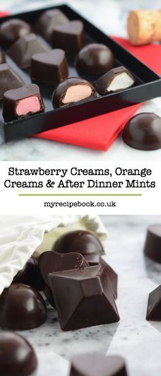 Create some of your chocolate box favourites at home – strawberry and orange creams and delicious after dinner mints. (homemade desserts at home) Vino Y Chocolate, Chocolate Bonbon, Chocolate Sweets, Chocolate Filling, Chocolate Recipes, Chocolate Making, Chocolate Chips, Chocolate Boxes, Chocolate Ganache