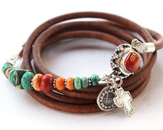 Turquoise coral bracelet - Sundance style silver, turquoise, coral, spiny oyster and leather Santa Fe Christmas