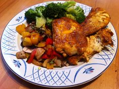 Spiced chicken breasts (cumin, paprika, turmeric, chilli powder) and vegetables.