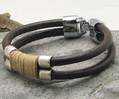 FREE  SHIPPING Men's leather  bracelet. Multi by eliziatelye, $28.00