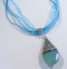 Ribbon Necklace with Blue Jade stone pendant by LifeisBalance, $40.00