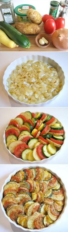 Ratatouille Parmesan Vegetable Spiral: a bed of onions is topped by a medley of veggies (tomatoes, potatoes, squash & zucchini) then drizzled with EVOO, sprinkled with Parmesan cheese & roasted to perfection. Gorgeous way to eat your veggies! by Veronica Kemper