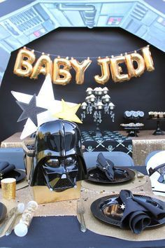 Use the force to host the perfect baby shower for a Star Wars fan. Whether it's a Luke or Leia, we have the perfect decorations for your Star Wars Baby Shower! Star Baby Showers, Boy Baby Shower Themes, Baby Shower Balloons, Baby Shower Games, Baby Shower Parties, Baby Boy Shower, Space Baby Shower, Star Wars Baby, Theme Star Wars