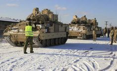US Army Heavy Armor Arrives in Estonia Bradley Ifv, Bradley Fighting Vehicle, 4th Infantry Division, Combat Gear, Army Vehicles, Us Army, Feb 2017, Bring It On, Brick Road