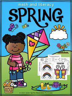 Printable spring math and literacy activities for preschool, pre-k and kindergarten.