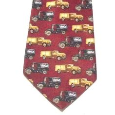 Coca-Cola-Novelty-Neck-Tie-Maroon-Vintage-Yellow-and-Black-Delivery-Trucks