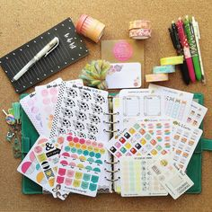 Day 7 of #mbeaprilphotochallenge Supplies! These are some of my fave supplies at the moment. My sticker collection got even bigger with recent orders from @foxandcactus  @theresetgirl and @gp_stickerstudio  I really like the black list pad from @kmartaus and my frixion pens are a must! I also got my first target dollar spot sticky notes this week after wanting them for aaaaages! I almost forgot to mention my incredibly cute @lorabailora watermelon and fox washi tape! #justabitobsessed…