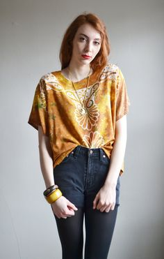 Vtg 90s BATIK owl hippie shirt // mustard yellow tie dye HIPPIE boho grunge revival over size owl novelty print silky shirt top. $46.00, via Etsy.