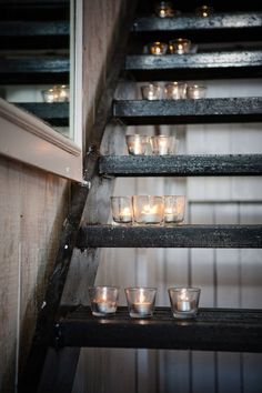 Candles on stairs always looks great - can use electric tealights too!