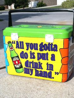 Love it but not paying that much for a cheap cooler! Custom Hand Painted Cooler. $235.00, via Etsy.