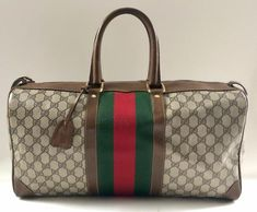 1304ee2526e Brown Gg Supreme Canvas   Leather Weekend Travel Bag. Weekend Travel BagKey CaseVintage  GucciCanvas ...