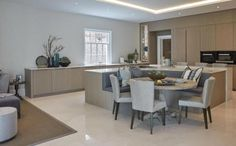 6 bedroom detached house for sale in Claremont Park Road, Esher, Surrey, Kitchen Island Booth, Open Plan Kitchen Living Room, Kitchen Island With Seating, Kitchen Room Design, Home Decor Kitchen, Interior Design Kitchen, Kitchen Ideas, Kitchen Islands, Kitchen Banquet Seating