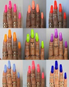 """If you're unfamiliar with nail trends and you hear the words """"coffin nails,"""" what comes to mind? It's not nails with coffins drawn on them. It's long nails with a square tip, and the look has. Aycrlic Nails, Neon Nails, Pastel Nails, Neon Orange Nails, Bright Nails Neon, Coffin Nails, Bright Acrylic Nails, Lime Green Nails, Nails 2016"""
