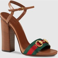 Gucci leather sandal with web ($645) ❤ liked on Polyvore featuring shoes, sandals, brown, heeled sandals, women's shoes, ankle wrap sandals, gucci sandals, brown sandals and leather t strap sandals