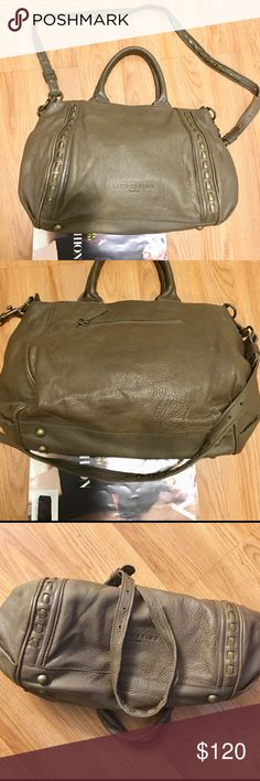 Liebeskind Berlin Olive XL Leather Satchel Bag LNC Authentic Liebeskind genuine butter soft foldable leather convertible shoulder Crossbody bag to hand held Satchel in a beautiful olive khaki green with a navy blue canvas lining only used a few times no scuffs odors stains holes etc...  REASONABLE OFFERS WELCOME 🌻 Liebeskind Berlin Bags