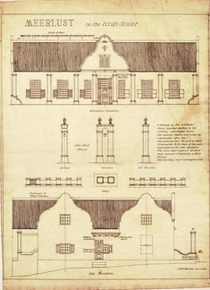 """Elevations, bell tower & front garden enclosure of the Meerlust homestead, built in Cape Dutch style with a thatched roof and convex-concave gables. Measured and drawn by L. R. F. Bustin for prof. Geoffrey Pearse's book """"Eighteenth Century Architecture in South Africa"""" - see page 44 for a description, and Plate 69 for the drawing."""