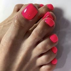 Pedicure Lovers 👽💯👣🔥🔥🔥🍆💦💦💦 Hot Pink Pedicure, Hot Pink Toes, Pedicure Colors, Pedicure Designs, French Tip Nail Designs, French Tip Nails, Pink Toe Nails, Gel Nails, Toenails