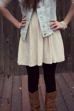 White Lace Dress with Black Leggings and a Denim Vest