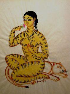 'Tiger-woman', by the modern Kalighat painter Kalam Patua. Via India - Art From the Heart Illustration Photo, Illustrations, Art Tigre, Art Indien, Arte Cyberpunk, Tibetan Art, Tibetan Rugs, Art Asiatique, Tiger Art