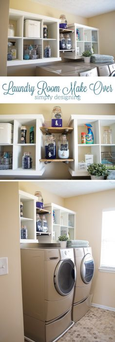 """Determine more relevant information on """"laundry room storage diy shelves"""". Have a look at our web site. Laundry Shelves, Laundry Room Organization, Laundry Room Design, Laundry Rooms, Basement Laundry, Diy Regal, Small Laundry, Diy On A Budget, Simple Hack"""