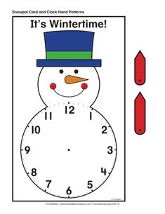 Snowman Clock, Lesson Plans - The Mailbox Math Clock, Clock Craft, Indoor Activities For Kids, Math Activities, Learn To Tell Time, Math Patterns, Math Crafts, Snow Fun, Learning Time