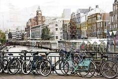 Glasschilderij Amsterdam grachten